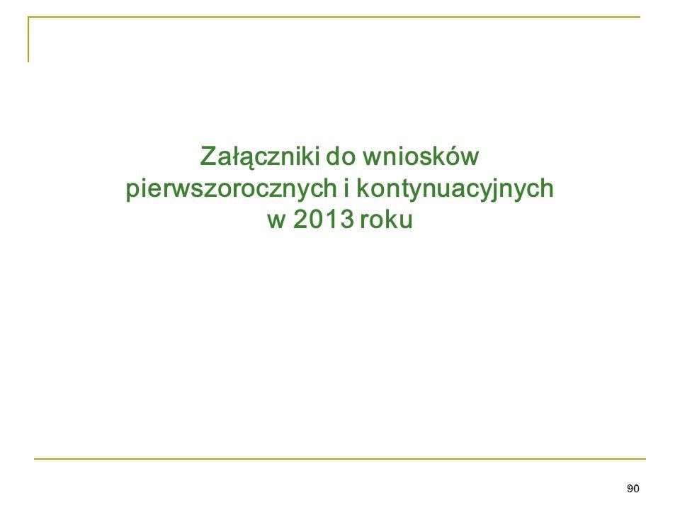 90 Załączniki do wniosków pierwszorocznych i kontynuacyjnych w 2013 roku 90