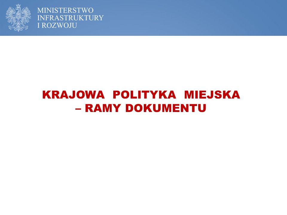 KRAJOWA POLITYKA MIEJSKA – RAMY DOKUMENTU
