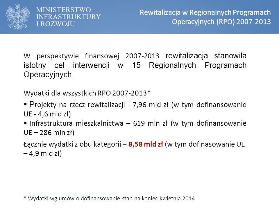 W perspektywie finansowej 2007-2013 rewitalizacja stanowiła istotny cel interwencji w 15 Regionalnych Programach Operacyjnych. Wydatki dla wszystkich