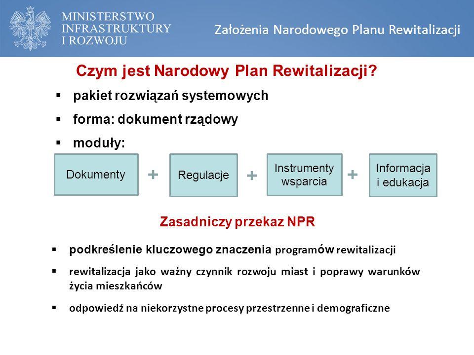 Czym jest Narodowy Plan Rewitalizacji?  pakiet rozwiązań systemowych  forma: dokument rządowy  moduły: Założenia Narodowego Planu Rewitalizacji Dok