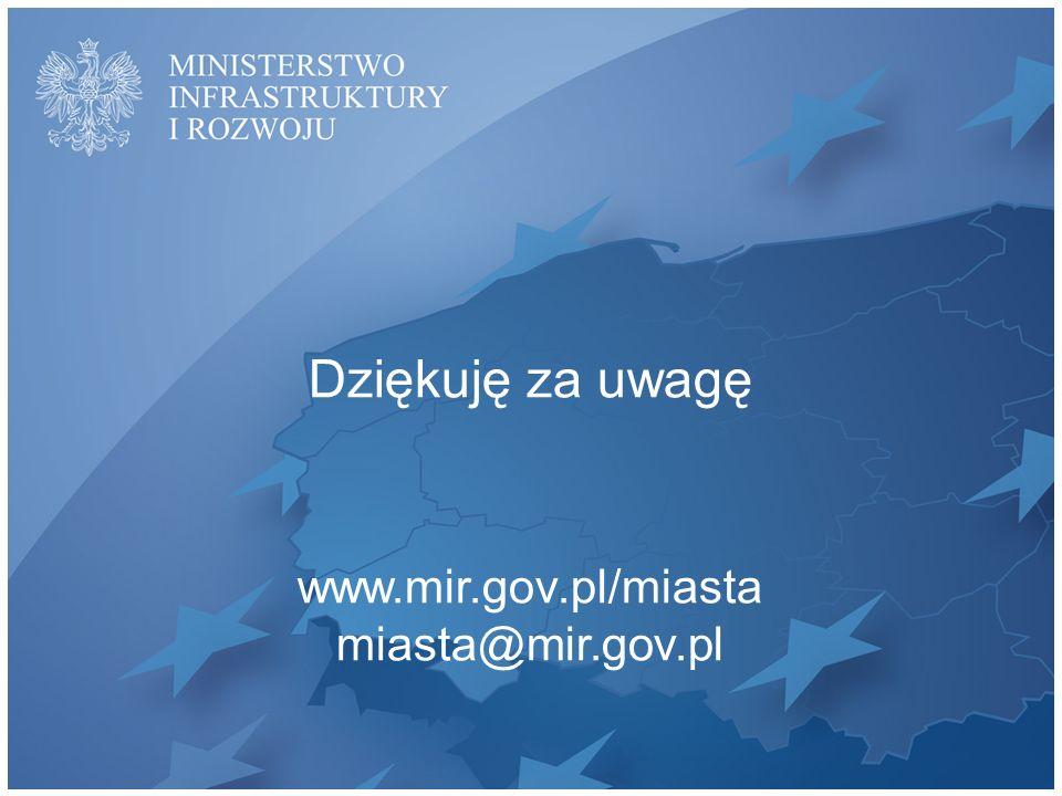 Dziękuję za uwagę www.mir.gov.pl/miasta miasta@mir.gov.pl