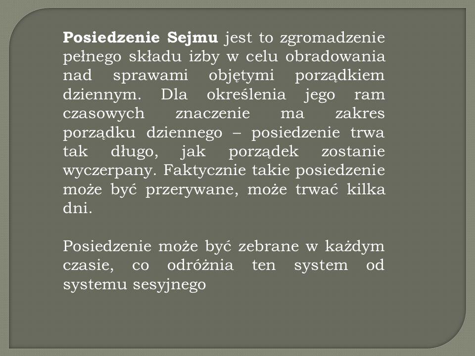 Posiedzenie Sejmu jest to zgromadzenie pełnego składu izby w celu obradowania nad sprawami objętymi porządkiem dziennym. Dla określenia jego ram czaso