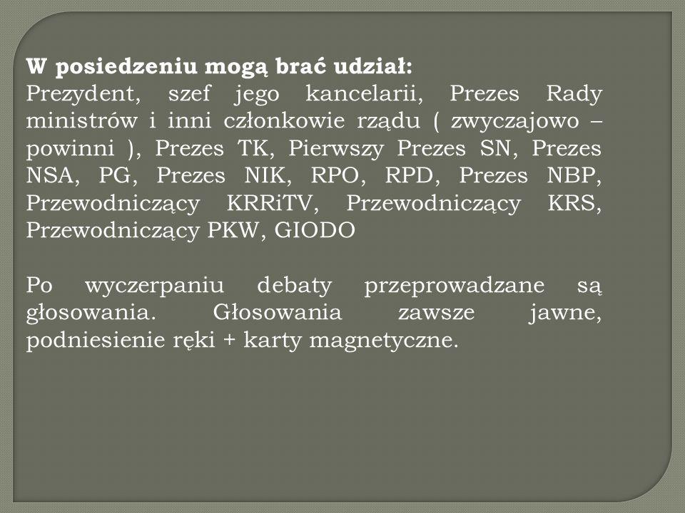 W posiedzeniu mogą brać udział: Prezydent, szef jego kancelarii, Prezes Rady ministrów i inni członkowie rządu ( zwyczajowo – powinni ), Prezes TK, Pi