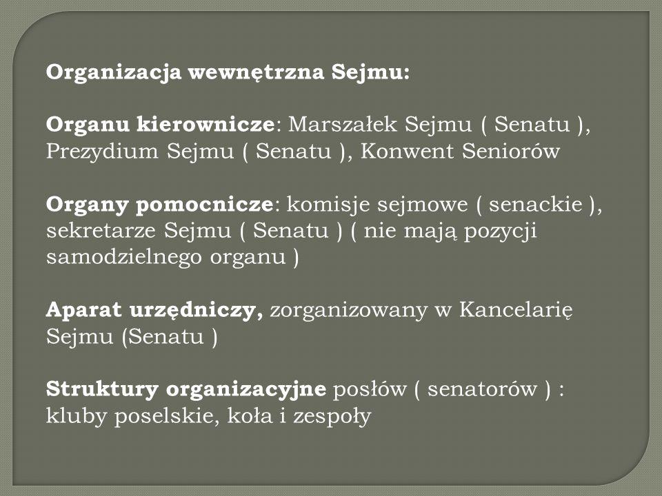 Organizacja wewnętrzna Sejmu: Organu kierownicze : Marszałek Sejmu ( Senatu ), Prezydium Sejmu ( Senatu ), Konwent Seniorów Organy pomocnicze : komisje sejmowe ( senackie ), sekretarze Sejmu ( Senatu ) ( nie mają pozycji samodzielnego organu ) Aparat urzędniczy, zorganizowany w Kancelarię Sejmu (Senatu ) Struktury organizacyjne posłów ( senatorów ) : kluby poselskie, koła i zespoły
