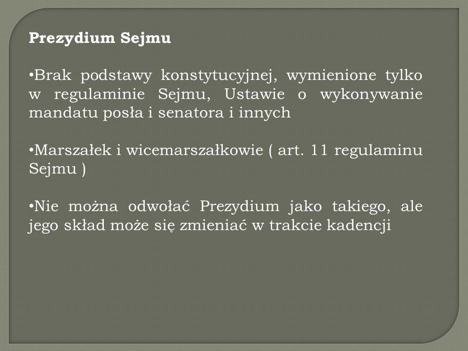 Prezydium Sejmu Brak podstawy konstytucyjnej, wymienione tylko w regulaminie Sejmu, Ustawie o wykonywanie mandatu posła i senatora i innych Marszałek