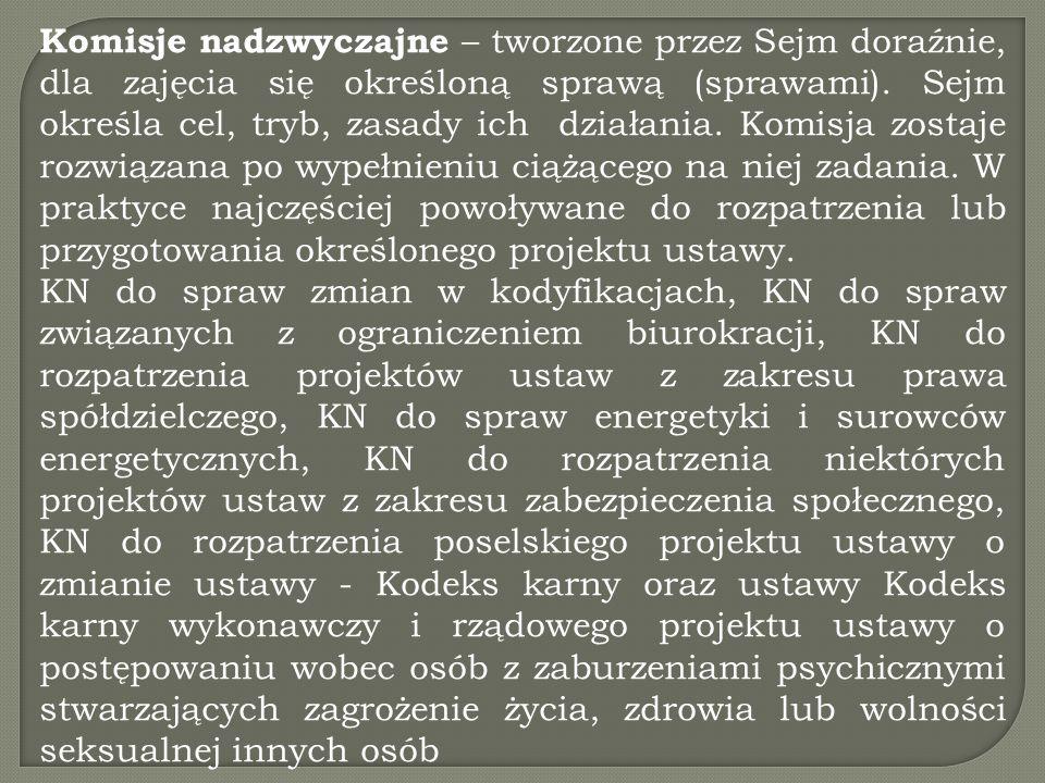 Komisje nadzwyczajne – tworzone przez Sejm doraźnie, dla zajęcia się określoną sprawą (sprawami). Sejm określa cel, tryb, zasady ich działania. Komisj