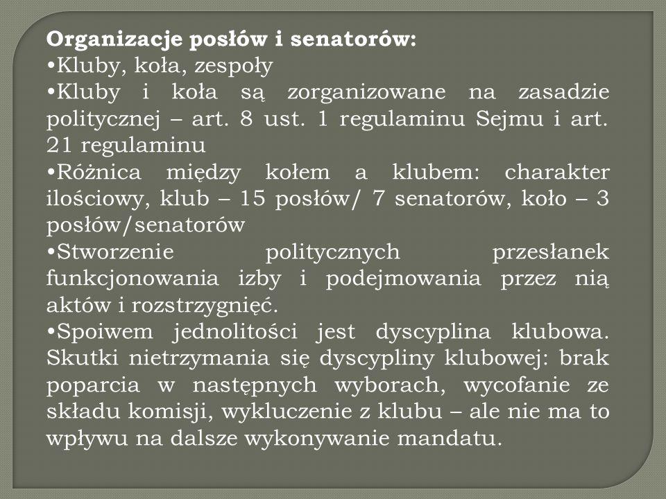 Organizacje posłów i senatorów: Kluby, koła, zespoły Kluby i koła są zorganizowane na zasadzie politycznej – art. 8 ust. 1 regulaminu Sejmu i art. 21