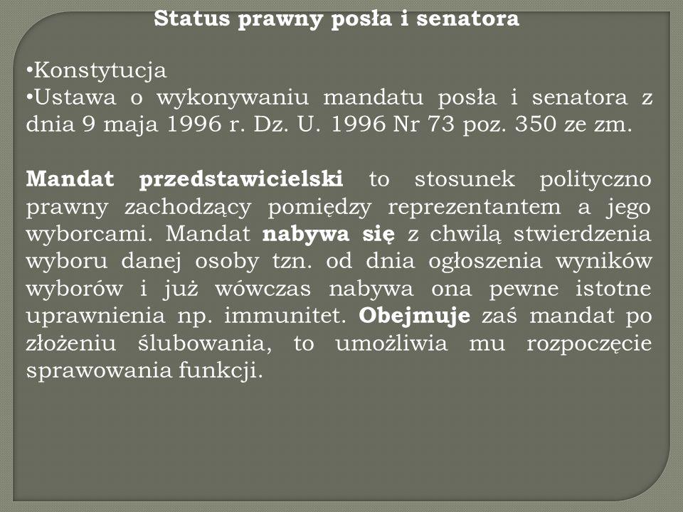 Status prawny posła i senatora Konstytucja Ustawa o wykonywaniu mandatu posła i senatora z dnia 9 maja 1996 r. Dz. U. 1996 Nr 73 poz. 350 ze zm. Manda