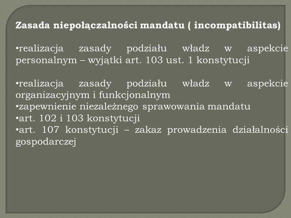 Zasada niepołączalności mandatu ( incompatibilitas) realizacja zasady podziału władz w aspekcie personalnym – wyjątki art.