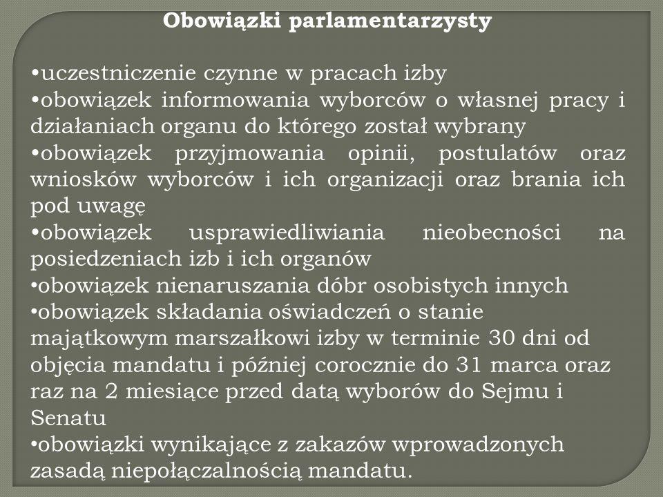 Obowiązki parlamentarzysty uczestniczenie czynne w pracach izby obowiązek informowania wyborców o własnej pracy i działaniach organu do którego został