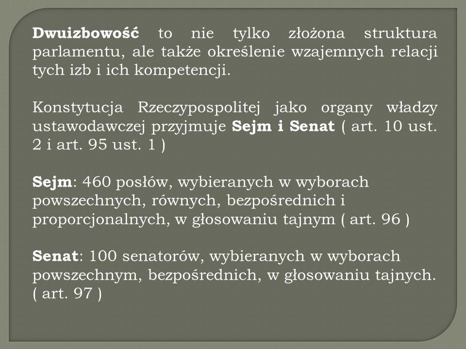 Zasady obradowania Sejmu i Senatu określone w regulaminach Obradami Sejmu kieruje Marszałek Sejmu lub w jego zastępstwie wicemarszałek mając do pomocy dwóch sekretarzy Sejmu – patrz art.