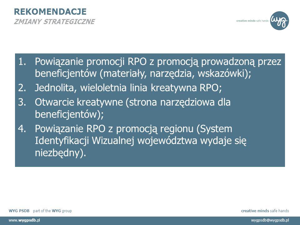WYG PSDB part of the WYG group creative minds safe hands www.wygpsdb.plwygpsdb@wygpsdb.pl REKOMENDACJE ZMIANY STRATEGICZNE 1.Powiązanie promocji RPO z promocją prowadzoną przez beneficjentów (materiały, narzędzia, wskazówki); 2.Jednolita, wieloletnia linia kreatywna RPO; 3.Otwarcie kreatywne (strona narzędziowa dla beneficjentów); 4.Powiązanie RPO z promocją regionu (System Identyfikacji Wizualnej województwa wydaje się niezbędny).