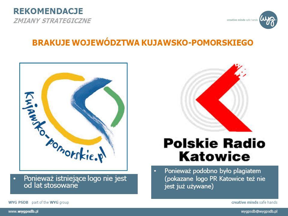 WYG PSDB part of the WYG group creative minds safe hands www.wygpsdb.plwygpsdb@wygpsdb.pl REKOMENDACJE ZMIANY STRATEGICZNE BRAKUJE WOJEWÓDZTWA KUJAWSKO-POMORSKIEGO Ponieważ istniejące logo nie jest od lat stosowane Ponieważ podobno było plagiatem (pokazane logo PR Katowice też nie jest już używane)