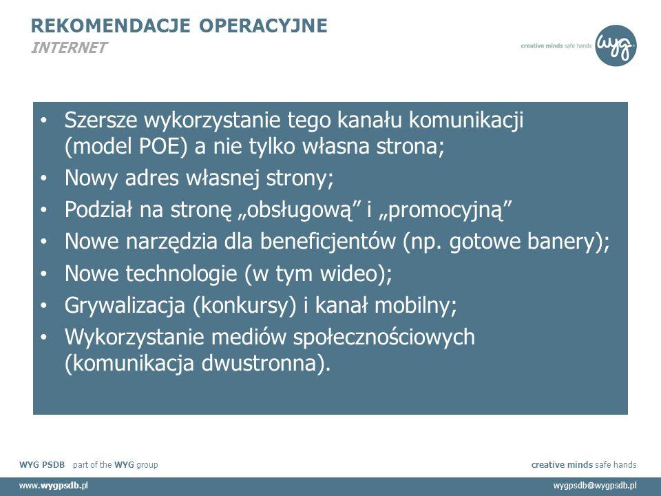 """WYG PSDB part of the WYG group creative minds safe hands www.wygpsdb.plwygpsdb@wygpsdb.pl REKOMENDACJE OPERACYJNE INTERNET Szersze wykorzystanie tego kanału komunikacji (model POE) a nie tylko własna strona; Nowy adres własnej strony; Podział na stronę """"obsługową i """"promocyjną Nowe narzędzia dla beneficjentów (np."""