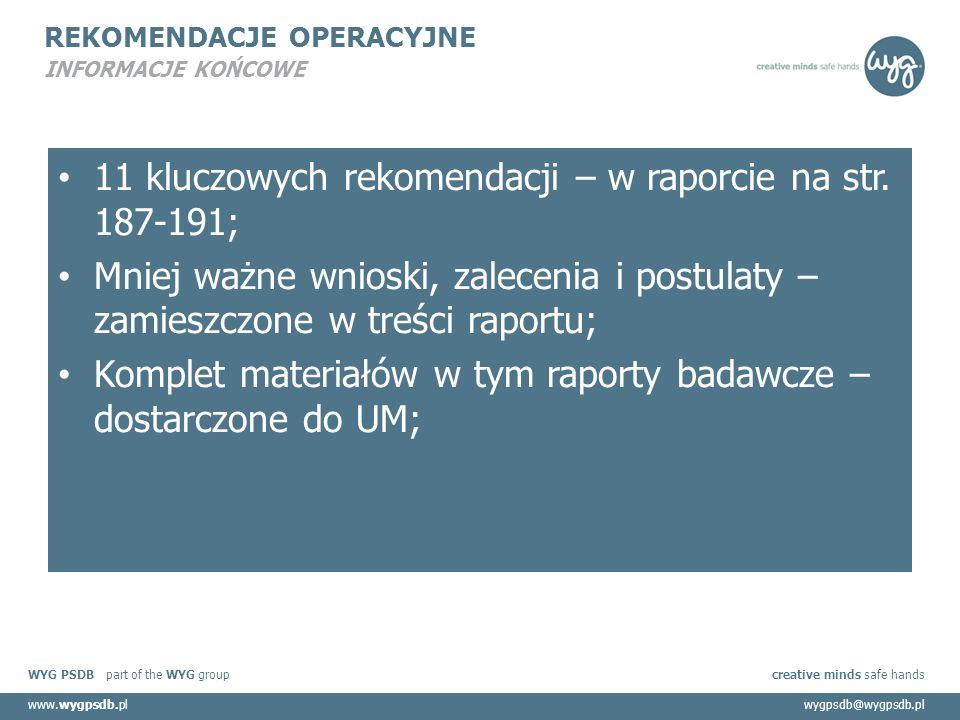 WYG PSDB part of the WYG group creative minds safe hands www.wygpsdb.plwygpsdb@wygpsdb.pl REKOMENDACJE OPERACYJNE INFORMACJE KOŃCOWE 11 kluczowych rekomendacji – w raporcie na str.