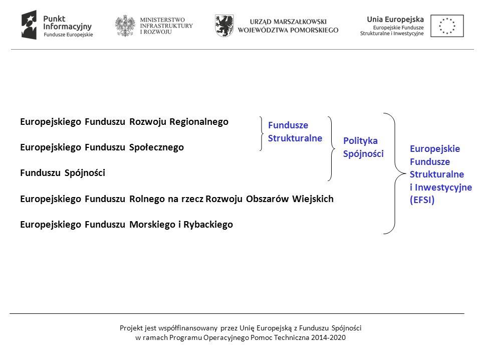 Projekt jest współfinansowany przez Unię Europejską z Funduszu Spójności w ramach Programu Operacyjnego Pomoc Techniczna 2014-2020 Europejskiego Funduszu Rozwoju Regionalnego Europejskiego Funduszu Społecznego Funduszu Spójności Europejskiego Funduszu Rolnego na rzecz Rozwoju Obszarów Wiejskich Europejskiego Funduszu Morskiego i Rybackiego Fundusze Strukturalne Polityka Spójności Europejskie Fundusze Strukturalne i Inwestycyjne (EFSI)