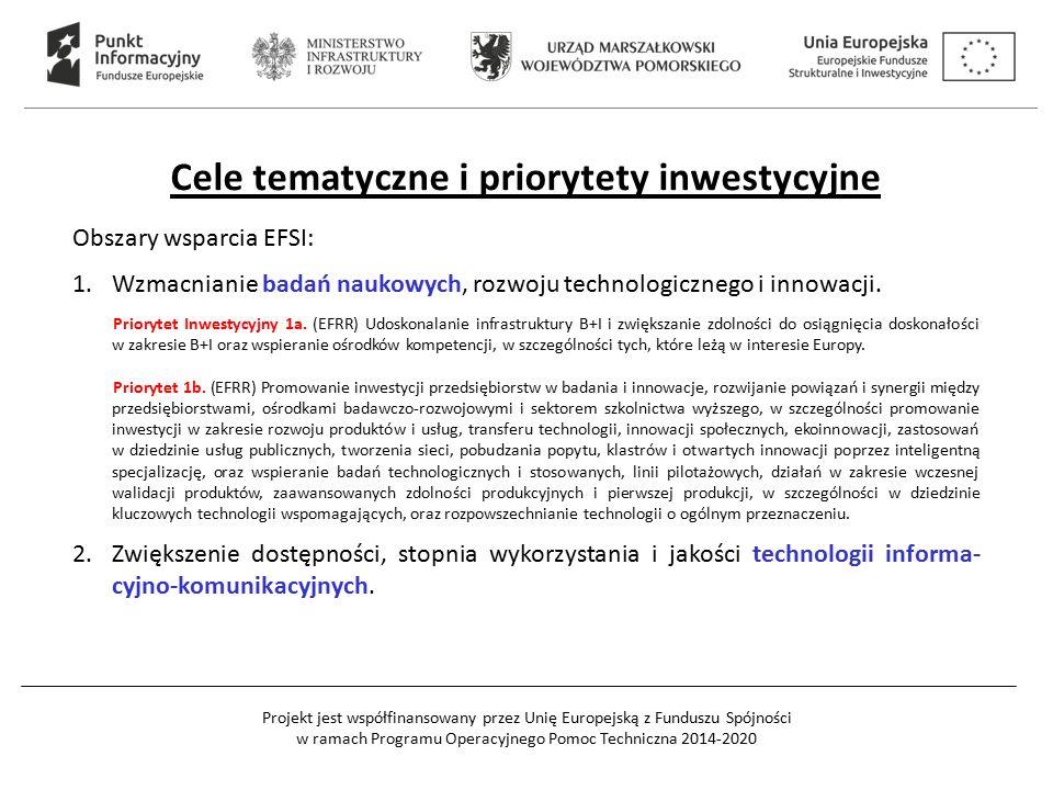 Projekt jest współfinansowany przez Unię Europejską z Funduszu Spójności w ramach Programu Operacyjnego Pomoc Techniczna 2014-2020 Cele tematyczne i priorytety inwestycyjne Obszary wsparcia EFSI: 1.Wzmacnianie badań naukowych, rozwoju technologicznego i innowacji.