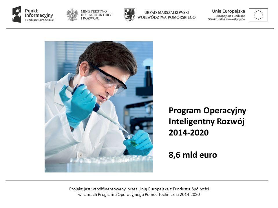 Projekt jest współfinansowany przez Unię Europejską z Funduszu Spójności w ramach Programu Operacyjnego Pomoc Techniczna 2014-2020 Program Operacyjny Inteligentny Rozwój 2014-2020 8,6 mld euro