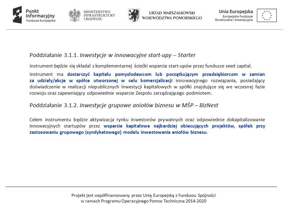 Projekt jest współfinansowany przez Unię Europejską z Funduszu Spójności w ramach Programu Operacyjnego Pomoc Techniczna 2014-2020 Poddziałanie 3.1.1.