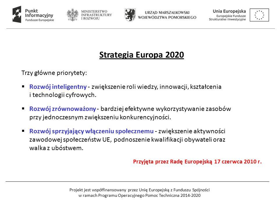Projekt jest współfinansowany przez Unię Europejską z Funduszu Spójności w ramach Programu Operacyjnego Pomoc Techniczna 2014-2020 Strategia Europa 2020 Trzy główne priorytety:  Rozwój inteligentny - zwiększenie roli wiedzy, innowacji, kształcenia i technologii cyfrowych.