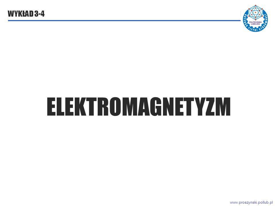 www.proszynski.pollub.pl WYKŁAD 3-4 ELEKTROMAGNETYZM ELEKTROMAGNETYZM WYKŁAD 3
