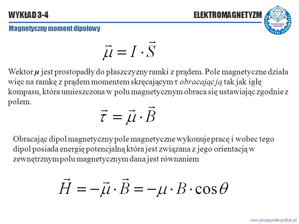 www.proszynski.pollub.pl WYKŁAD 3-4 ELEKTROMAGNETYZM Magnetyczny moment dipolowy Wektor μ jest prostopadły do płaszczyzny ramki z prądem.