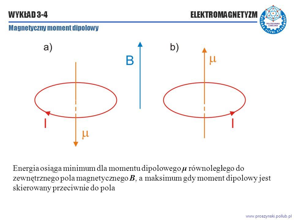 www.proszynski.pollub.pl WYKŁAD 3-4 ELEKTROMAGNETYZM Magnetyczny moment dipolowy Energia osiąga minimum dla momentu dipolowego μ równoległego do zewnętrznego pola magnetycznego B, a maksimum gdy moment dipolowy jest skierowany przeciwnie do pola