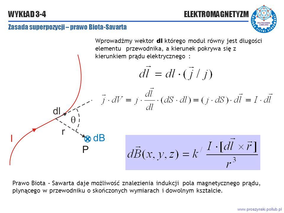 www.proszynski.pollub.pl WYKŁAD 3-4 ELEKTROMAGNETYZM Wprowadźmy wektor dl którego moduł równy jest długości elementu przewodnika, a kierunek pokrywa się z kierunkiem prądu elektrycznego : Zasada superpozycji – prawo Biota-Savarta Prawo Biota - Sawarta daje możliwość znalezienia indukcji pola magnetycznego prądu, płynącego w przewodniku o skończonych wymiarach i dowolnym kształcie.
