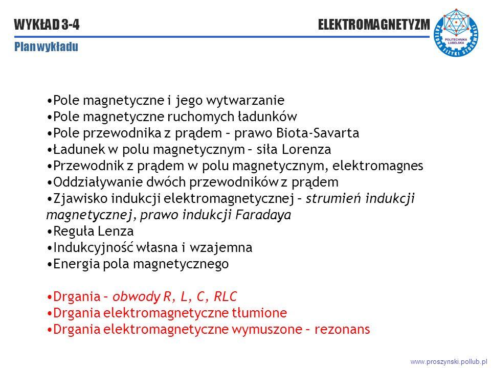 www.proszynski.pollub.pl WYKŁAD 3-4 ELEKTROMAGNETYZM Plan wykładu Pole magnetyczne i jego wytwarzanie Pole magnetyczne ruchomych ładunków Pole przewodnika z prądem – prawo Biota-Savarta Ładunek w polu magnetycznym – siła Lorenza Przewodnik z prądem w polu magnetycznym, elektromagnes Oddziaływanie dwóch przewodników z prądem Zjawisko indukcji elektromagnetycznej – strumień indukcji magnetycznej, prawo indukcji Faradaya Reguła Lenza Indukcyjność własna i wzajemna Energia pola magnetycznego Drgania – obwody R, L, C, RLC Drgania elektromagnetyczne tłumione Drgania elektromagnetyczne wymuszone – rezonans