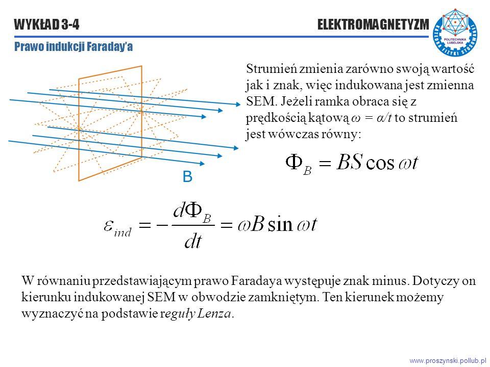 www.proszynski.pollub.pl WYKŁAD 3-4 ELEKTROMAGNETYZM Prawo indukcji Faraday'a Strumień zmienia zarówno swoją wartość jak i znak, więc indukowana jest zmienna SEM.