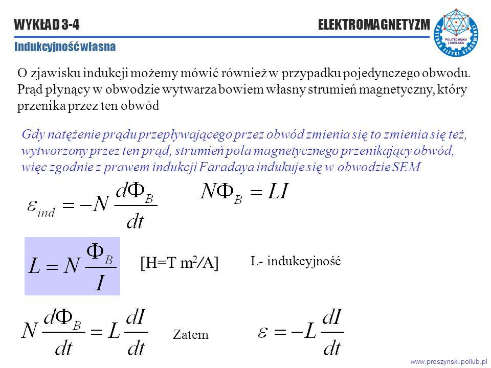 www.proszynski.pollub.pl WYKŁAD 3-4 ELEKTROMAGNETYZM Indukcyjność własna O zjawisku indukcji możemy mówić również w przypadku pojedynczego obwodu.