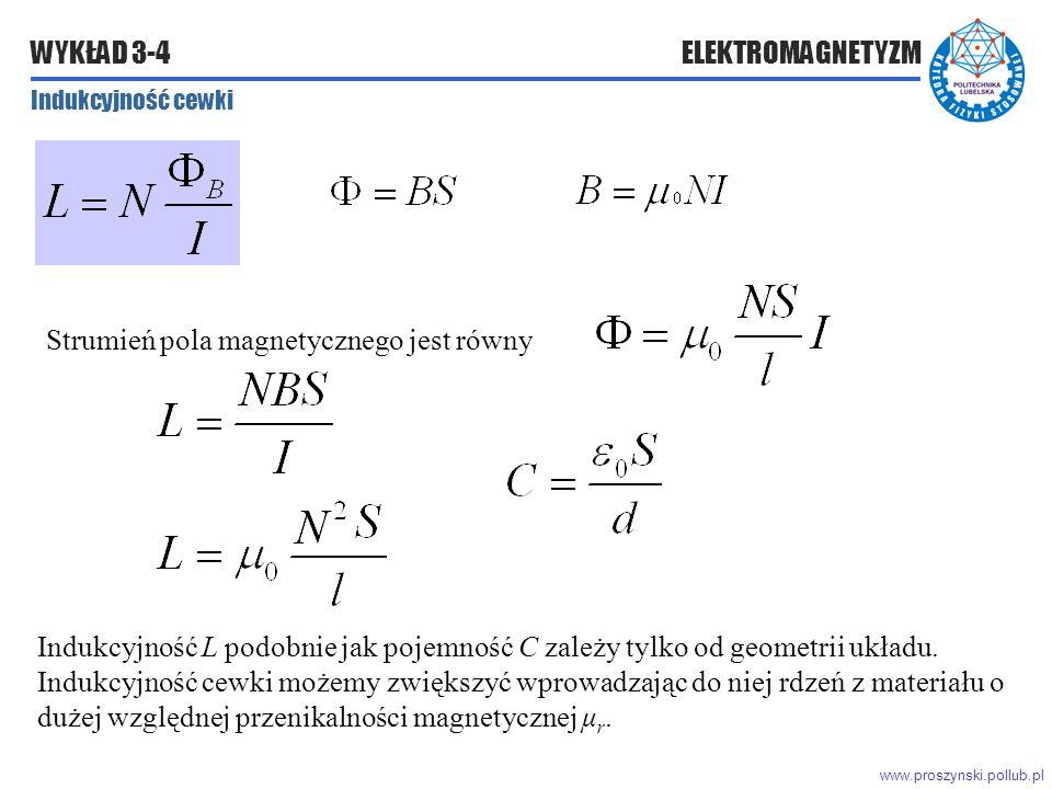 www.proszynski.pollub.pl WYKŁAD 3-4 ELEKTROMAGNETYZM Indukcyjność cewki Strumień pola magnetycznego jest równy Indukcyjność L podobnie jak pojemność C zależy tylko od geometrii układu.
