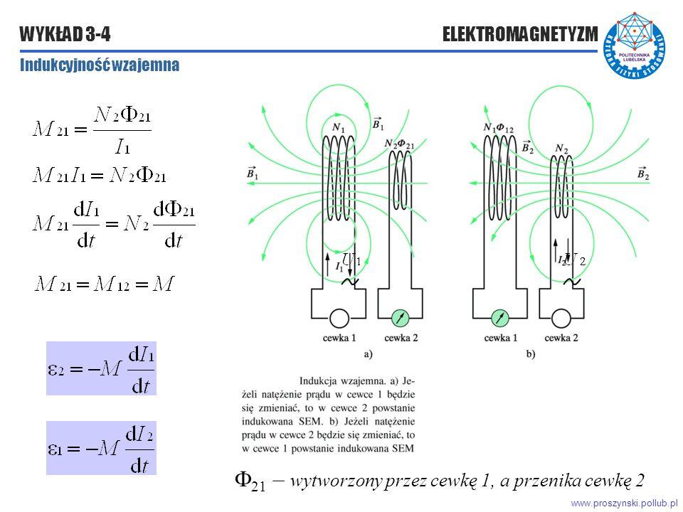 www.proszynski.pollub.pl WYKŁAD 3-4 ELEKTROMAGNETYZM  21 – wytworzony przez cewkę 1, a przenika cewkę 2 Indukcyjność wzajemna