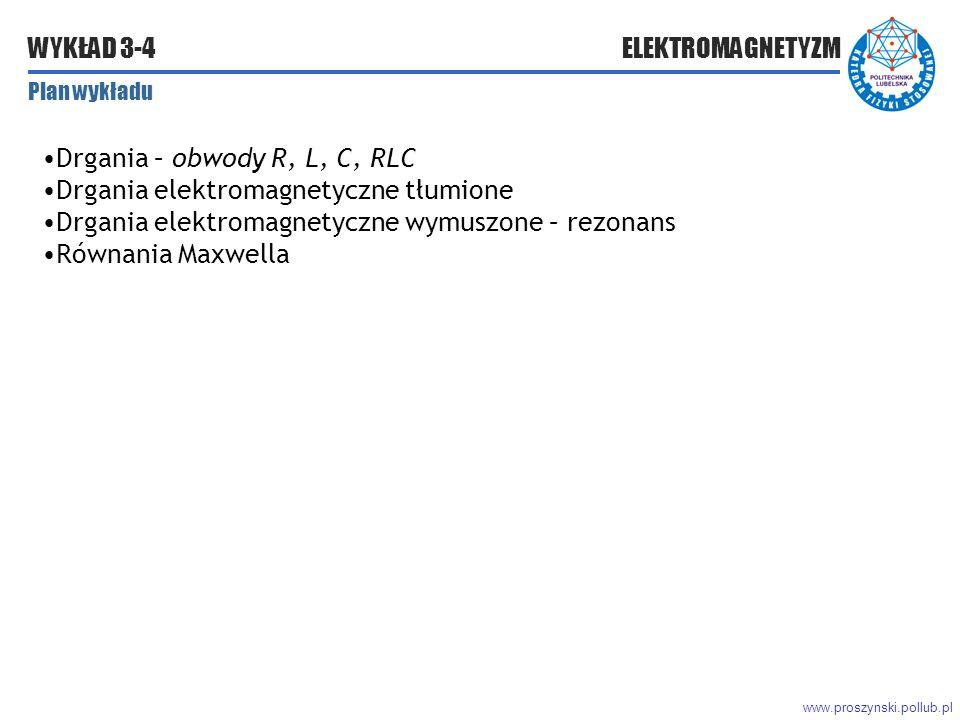 www.proszynski.pollub.pl WYKŁAD 3-4 ELEKTROMAGNETYZM Plan wykładu Drgania – obwody R, L, C, RLC Drgania elektromagnetyczne tłumione Drgania elektromagnetyczne wymuszone – rezonans Równania Maxwella