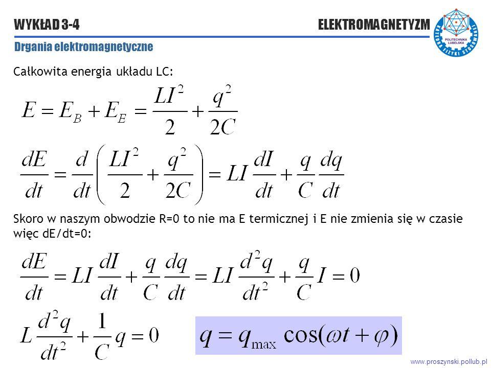 www.proszynski.pollub.pl WYKŁAD 3-4 ELEKTROMAGNETYZM Drgania elektromagnetyczne Całkowita energia układu LC: Skoro w naszym obwodzie R=0 to nie ma E termicznej i E nie zmienia się w czasie więc dE/dt=0: