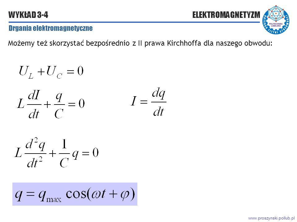 www.proszynski.pollub.pl WYKŁAD 3-4 ELEKTROMAGNETYZM Drgania elektromagnetyczne Możemy też skorzystać bezpośrednio z II prawa Kirchhoffa dla naszego obwodu: