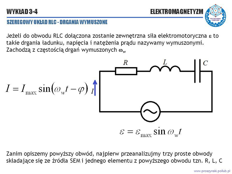 www.proszynski.pollub.pl WYKŁAD 3-4 ELEKTROMAGNETYZM SZEREGOWY UKŁAD RLC - DRGANIA WYMUSZONE Jeżeli do obwodu RLC dołączona zostanie zewnętrzna siła elektromotoryczna  to takie drgania ładunku, napięcia i natężenia prądu nazywamy wymuszonymi.