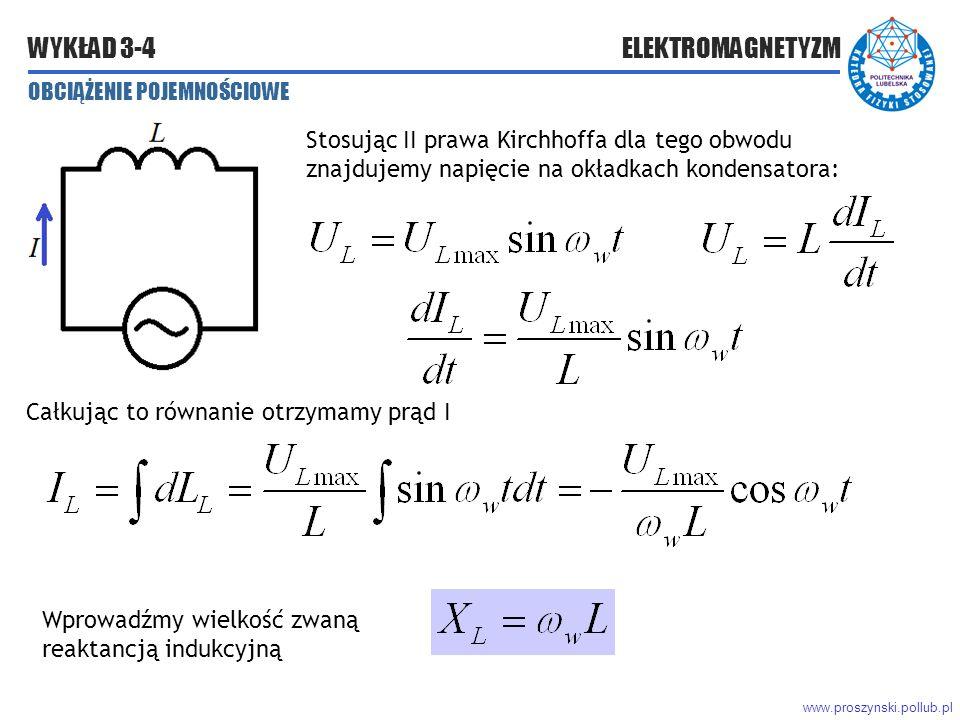 www.proszynski.pollub.pl WYKŁAD 3-4 ELEKTROMAGNETYZM OBCIĄŻENIE POJEMNOŚCIOWE Stosując II prawa Kirchhoffa dla tego obwodu znajdujemy napięcie na okładkach kondensatora: Całkując to równanie otrzymamy prąd I Wprowadźmy wielkość zwaną reaktancją indukcyjną