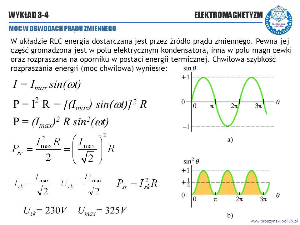 www.proszynski.pollub.pl WYKŁAD 3-4 ELEKTROMAGNETYZM MOC W OBWODACH PRĄDU ZMIENNEGO W układzie RLC energia dostarczana jest przez źródło prądu zmiennego.