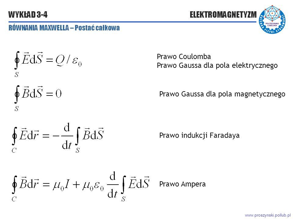 www.proszynski.pollub.pl WYKŁAD 3-4 ELEKTROMAGNETYZM RÓWNANIA MAXWELLA – Postać całkowa Prawo Ampera Prawo Coulomba Prawo Gaussa dla pola elektrycznego Prawo Gaussa dla pola magnetycznego Prawo indukcji Faradaya