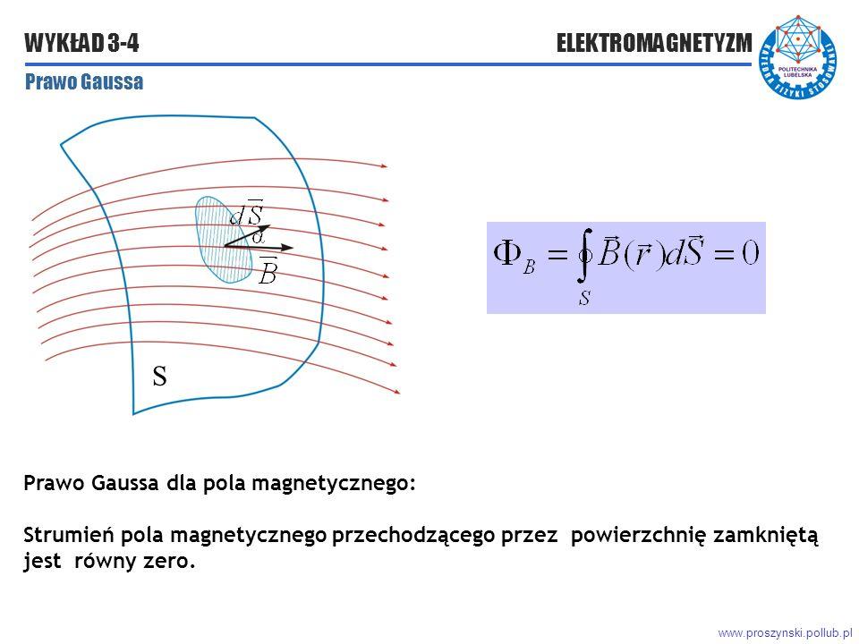 www.proszynski.pollub.pl WYKŁAD 3-4 ELEKTROMAGNETYZM Prawo Gaussa Prawo Gaussa dla pola magnetycznego: Strumień pola magnetycznego przechodzącego przez powierzchnię zamkniętą jest równy zero.
