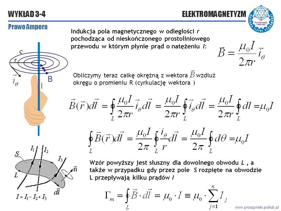 www.proszynski.pollub.pl WYKŁAD 3-4 ELEKTROMAGNETYZM Prawo Ampera Obliczymy teraz całkę okrężną z wektora wzdłuż okręgu o promieniu R (cyrkulację wektora ) Wzór powyższy jest słuszny dla dowolnego obwodu L, a także w przypadku gdy przez pole S rozpięte na obwodzie L przepływają kilku prądów I r Indukcja pola magnetycznego w odległości r pochodząca od nieskończonego prostoliniowego przewodu w którym płynie prąd o natężeniu I: c