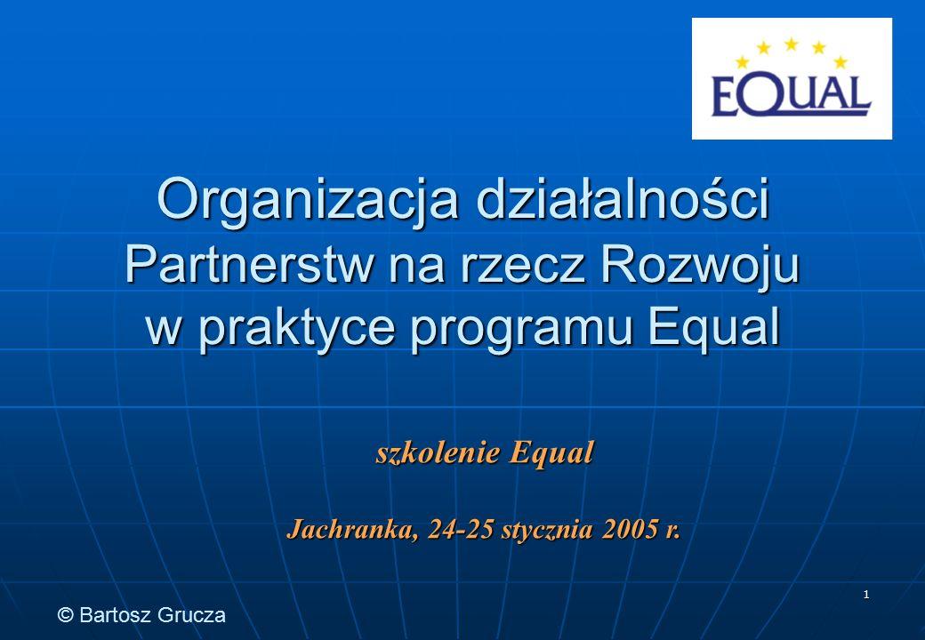 1 Organizacja działalności Partnerstw na rzecz Rozwoju w praktyce programu Equal szkolenie Equal Jachranka, 24-25 stycznia 2005 r. © Bartosz Grucza