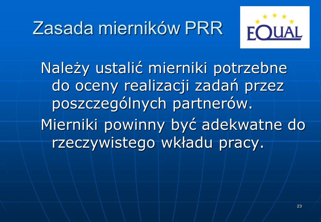 23 Zasada mierników PRR Należy ustalić mierniki potrzebne do oceny realizacji zadań przez poszczególnych partnerów. Mierniki powinny być adekwatne do
