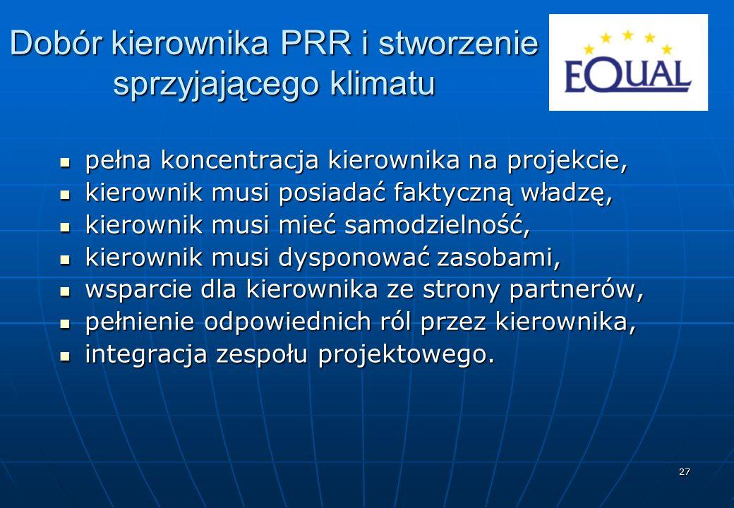 27 Dobór kierownika PRR i stworzenie sprzyjającego klimatu pełna koncentracja kierownika na projekcie, pełna koncentracja kierownika na projekcie, kie