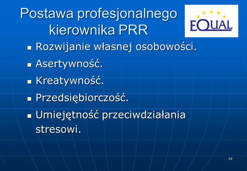 29 Postawa profesjonalnego kierownika PRR Rozwijanie własnej osobowości. Rozwijanie własnej osobowości. Asertywność. Asertywność. Kreatywność. Kreatyw