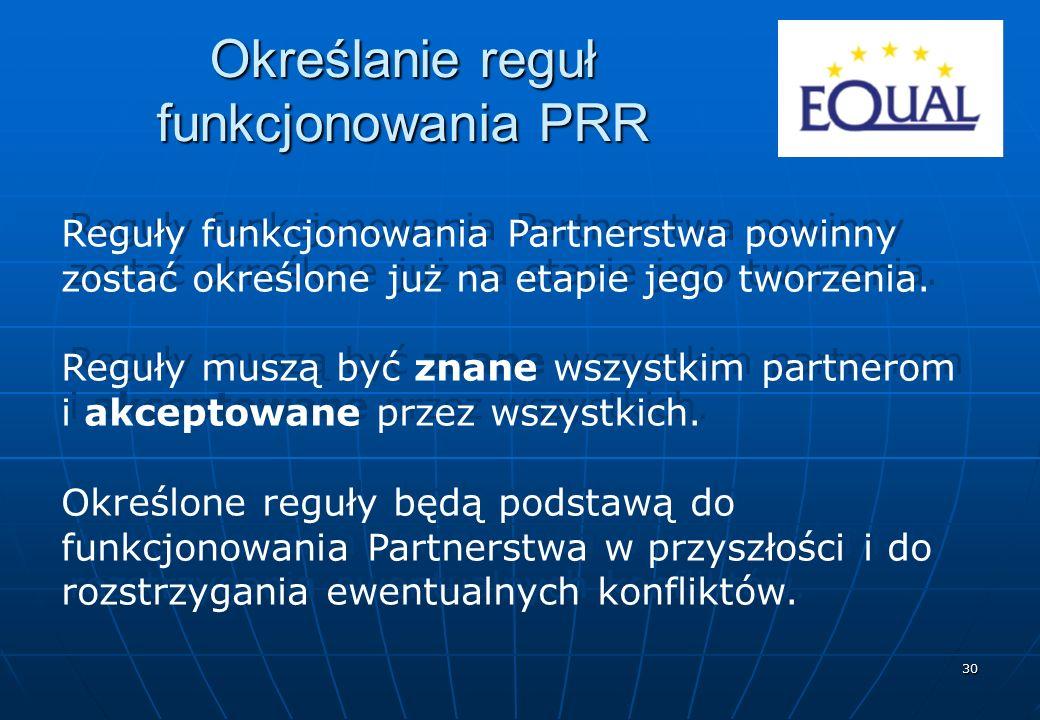 30 Określanie reguł funkcjonowania PRR Reguły funkcjonowania Partnerstwa powinny zostać określone już na etapie jego tworzenia. Reguły muszą być znane