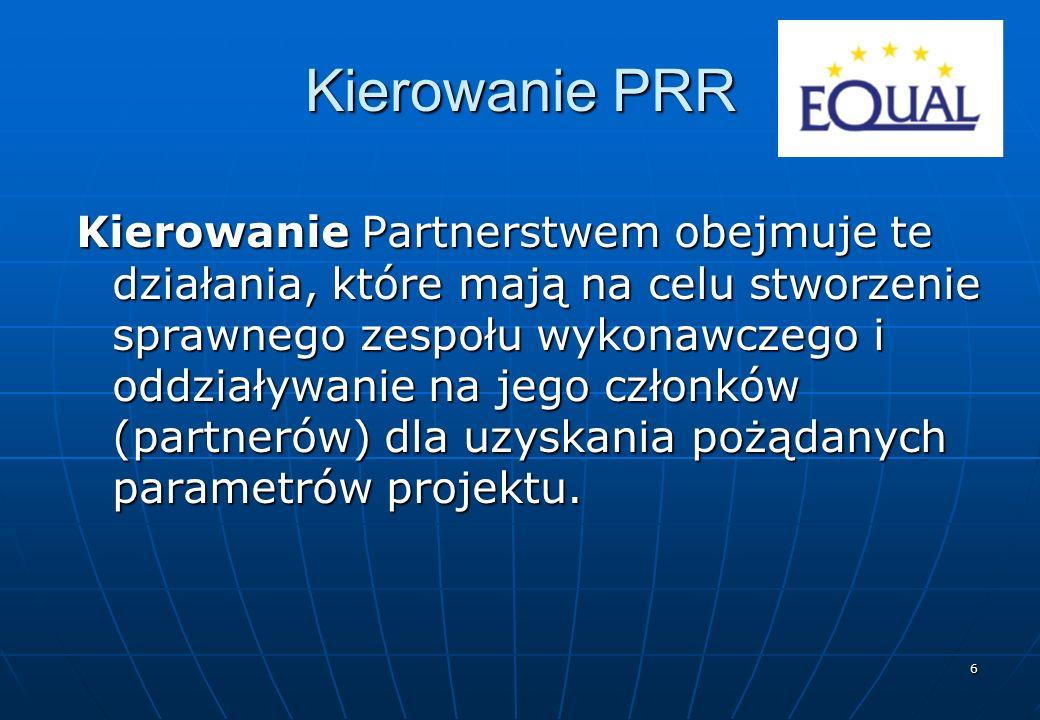 6 Kierowanie PRR Kierowanie Partnerstwem obejmuje te działania, które mają na celu stworzenie sprawnego zespołu wykonawczego i oddziaływanie na jego c