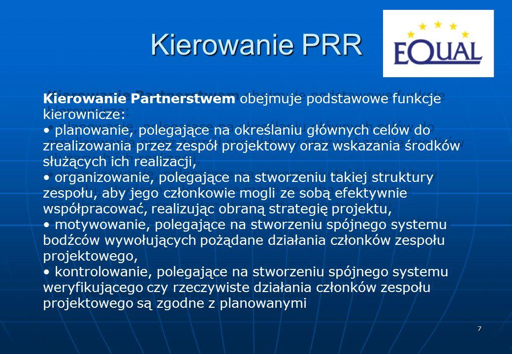 7 Kierowanie PRR Kierowanie Partnerstwem obejmuje podstawowe funkcje kierownicze: planowanie, polegające na określaniu głównych celów do zrealizowania