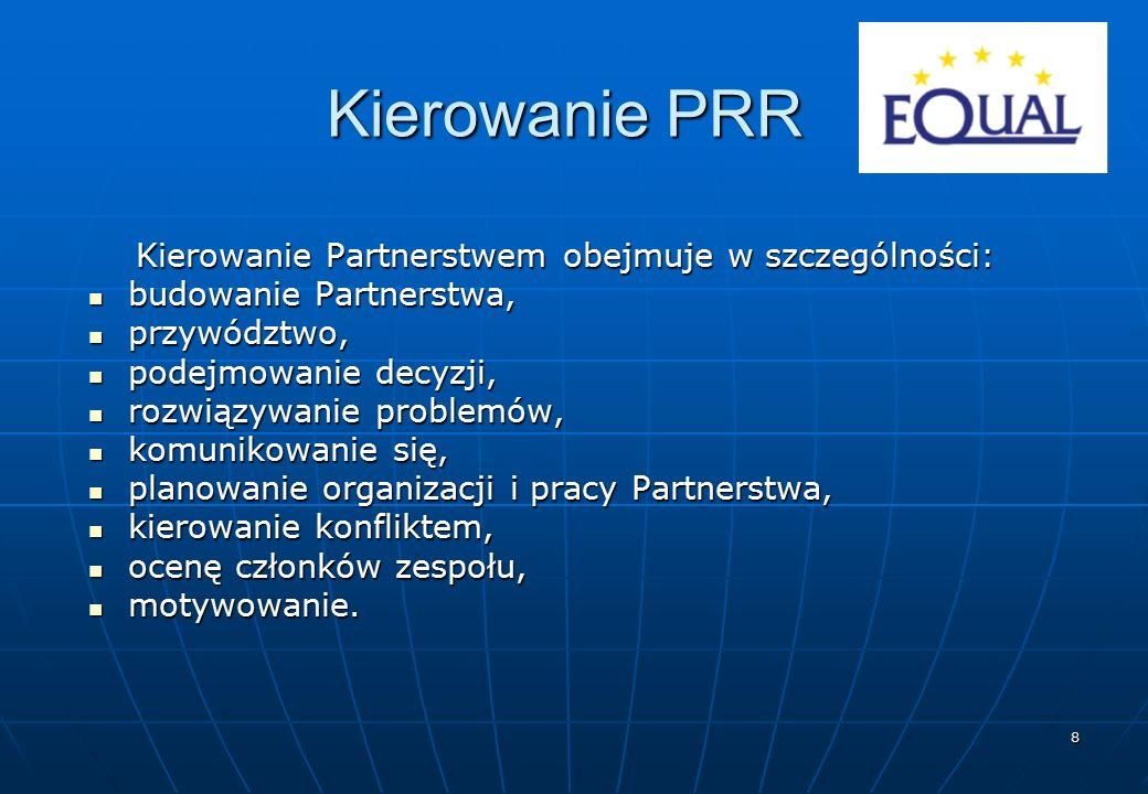 8 Kierowanie PRR Kierowanie Partnerstwem obejmuje w szczególności: budowanie Partnerstwa, budowanie Partnerstwa, przywództwo, przywództwo, podejmowani